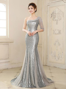 2016 New Shoulder Formal Evening Dresses Dazzling Crystal Beaded Long Mermaid Pageant Dress Sequins Lace Trailing Sweet Prom Robe Plus Size on Sale