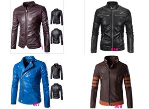 hot 2016 high-end men's leather men Slim leather motorcycle leather jacket Korean tide big yards free shipping on Sale