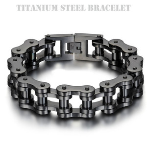 Wholesale Titanium Steel IP Black Plating Biker Bicycle Chains Bracelet Punk Wristbands Brace lace Male Trendy Jewelry High Quality cm