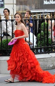 Wholesale Gossip Girl Blair Dresses Red Draped Organza Prom Evening Gowns Cheap Hi Lo Ball Gown Strapless Sleeveless vestidos Celebrity Dresses 2020