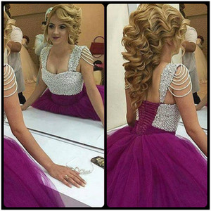 Stunning Puffy Ball Gown Long Arabic Evening Dresses 2020 Sweetheart Neck Pearls Beaded Straps Women Formal Evening Gowns on Sale