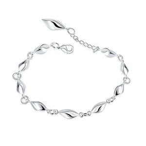 Wholesale Hot High Quality Brand Design Water Wave Diamond Silver Bracelet Fashion Chain Link Bracelets Jewelry Pretty Party Jewelry Gift