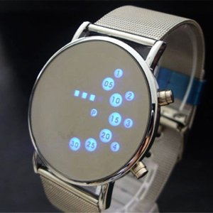 Fashion Cool Men Clock Watch Iron Man Blue LED Watches Luxury Stainless Steel Binary Bracelets & Bangles Wristwatch gift