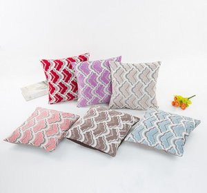 Wholesale Spandex Fabric Cushion Cover Square Pillowcase Sea Wave Striped Pillow Case Decoration Home Sofa Living Room 6 Colors 40x40CM