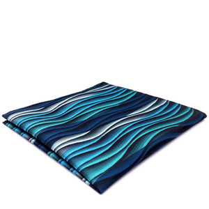 YH23 Turquoise Multicolor Ripple Abstract Classic Silk Handkerchief