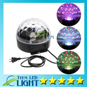 Wholesale DHL new arrival Voice activated RGB LED Crystal Magic Ball laser DJ party Stage Lighting bulb Effect mini stage light lamp