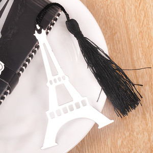 Wholesale Tower Bookmark With Black Tassels Delicate Box Package Alloy Silver Novelty Gift Book Marker Party Favor tz F R