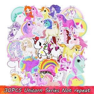 ingrosso poster di parete carino-30PCS Cute Unicorn Adesivi personalizzati Adesivi murali poster per camere Home Laptop Skateboard Bagagli Auto Bambini DIY Sticker Styling Cartoon