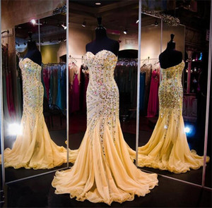 Wholesale Luxury Beaded Mermaid Pageant Dresses Modest Sweetheart Sequins Crystals Prom Dress Shinning Tulle Riffles Zipper Back Evening Dress