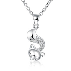 Wholesale Cubic Zirconia Necklace Silver Plated Animal Design Cute Fox Shaped Pendant Necklace Lovely Trendy Jewelry for Girl Women Long Sweater Chain
