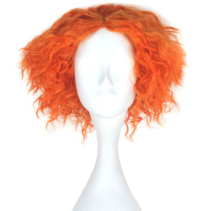 Wholesale Men Adult Short Kinky Curly Hair Unisex Yellow Orange Color Movie Role Play Hair Cosplay Wig Halloween