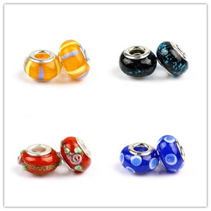 New alloy+Cloisonne beads drops Retro Big Hole beads natural glass crystal ceramics Style Europen beads For DIY Bracelet jewelry