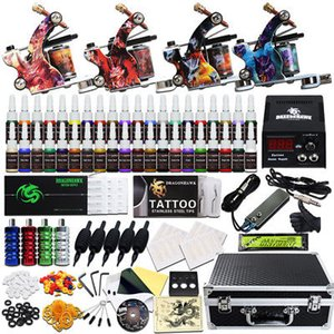 Wholesale Beginner Tattoo Kit Machine Guns Power Supply Set Grips color Ink Needles Tubes Case