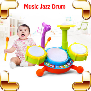 Wholesale drum sets resale online - New Coming Gift Baby Jazz Drum Toy Musical Instrument Learning Education Toys Kids Microphone Children Plastic Drum Model Set Present