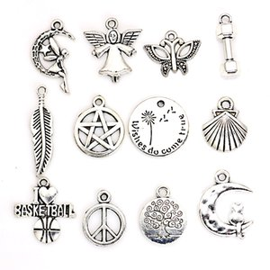 Wholesale Antique Silver Plated Leaf Shell Butterfly Angel Tree of Life Charms Pendants for Necklace Jewelry Making DIY Handmade Craft