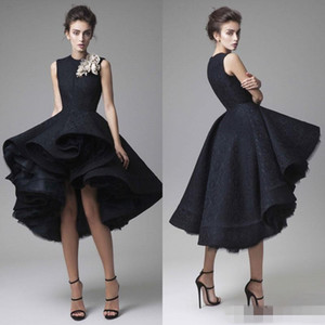 Krikor Jabotian Prom Dresses Hand Made Flower Jewel Neck Dark Navy Knee Length Evening Gowns 2019 Party on Sale