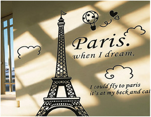 Paris Eiffel Tower Removable Vinyl Art Decal Mural Wall Sticker For Home Living Room Bedroom Bathroom Kitchen