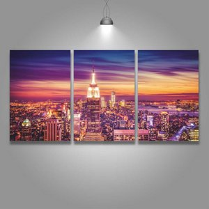 3 Panel Canvas Wall Art Prints Nigth View of New York Painting City Picture for Home Decor Living Room Decorate Room