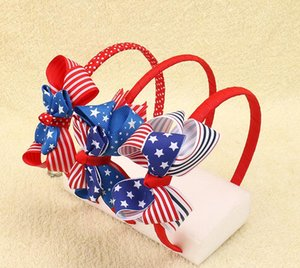 Wholesale DHL FREE American Flag Striped Ribbon Plastic Hairband Patriotic Hair Bows For Kids Girls Headbands Children Hair Accessories colors
