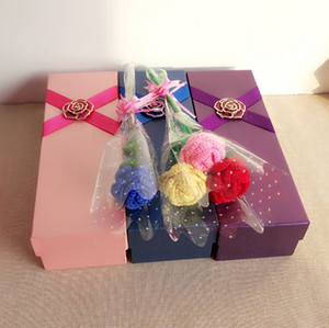 Wholesale 2016 New Style DIY Gift Box Packing Knitting Wool Artificial Rose Red Blue Yellow Pink Rose Room Decoration Flower For Valentine
