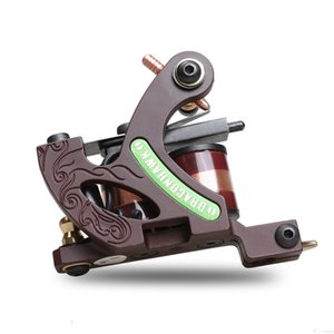 Wholesale Top Profession Tattoo Machine Shader Gun 10 Wraps Copper Coils Alloy Frame Shading Coloring Machine WTQ4459