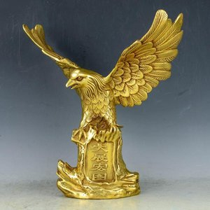Wholesale Chinese Bronze Brass Statue EAGLE Hawk Figure figurine home decoration