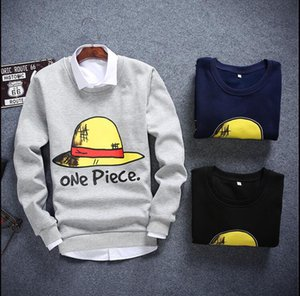 Wholesale Cartoon Anime One Piece Luffy Hat Print Men Autumn Hoodie Casual Fashion Long Sleeve Men Outwear Comic Clothing