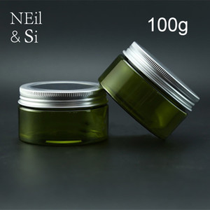 100g Green Plastic Lotion Jar Refillable Cosmetic Cream Container Empty Bath Salts Packaging Bottles Light Avoid