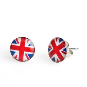 Wholesale Super Deal Hot Sell Drop Shipping Pairs Fashion mm Union Jack Stainless Steel Stud Earring Delicated UK Flag GB Flag Fashion Earring