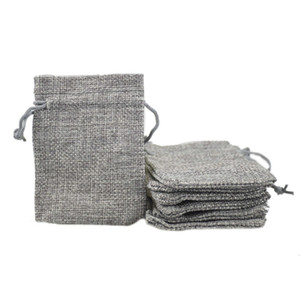 Wholesale 7x9cm Custom Cheap Faux Jute Drawstring Jewelry Bags Candy Beads Small Pouches Burlap Blank Linen Fabric Gift packaging bags