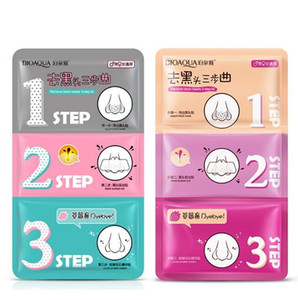 Wholesale blackheads nose resale online - 3 Steps Blackhead Remover Korean Cosmetics Facial Face Blackhead Mask Acne Charcoal Sheet Mask Peel Off Nose Mask