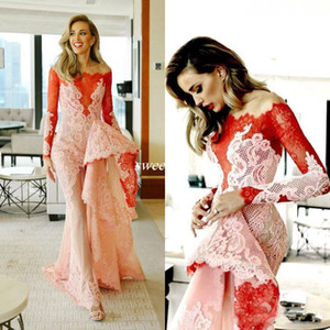 Vintage Arabic Mermaid Evening Dresses with Long Sleeve 2017 New Design Off The Shoulder Prom Gowns Full Lace Appliqued Formal Party Dress on Sale