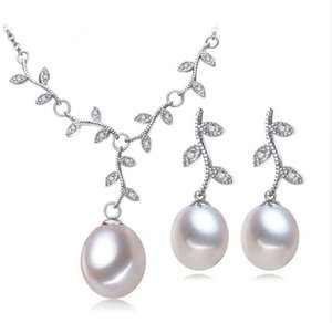 Wholesale New free shippin Pearl Jewelry Pink Jewelry Sets for Women Natural Pearl leaves Necklace Earring earings fashion jewelry box christmas