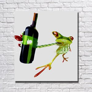 Wholesale Hand drawing abstract frog drink wine pictures hand painted large oil paintings on canvas painting pictures