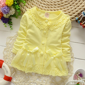 Wholesale Wholesale-2016 New Baby Girls Coat baby girl lace flower bow clothing girl cute lolita fashion coats newborn baby GC196 clothes