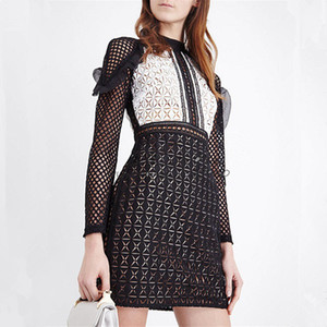 Wholesale New design fashion women s sexy long sleeve ruffles patchwork black white color block lace hollow out pencil short dress SML