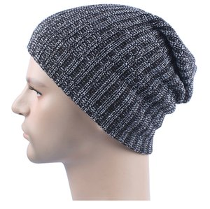 Wholesale Mix colors Winter Casual Cotton Knit Hats For Men Baggy Beanie Hat Crochet Slouchy Oversized Ski Cap Warm JF