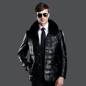 Wholesale Fall Men s Leather Jacket Warm Winter Male Pu Leather Jacket Fox Fur Collar Mens Leather Jackets And Coats Plus Size XL HJ276