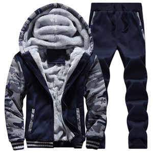 Wholesale Men Sweatshirts Suits Winter Warm Brand Sport Tracksuit Fashion Hoodies Casual Mens Sets Clothes Cool Designer Track Suit D62