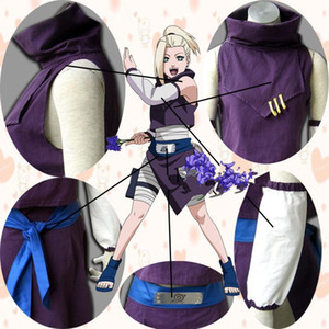 Wholesale Japanese Anime Naruto Cosplay Young Yamanaka Ino Costume top skirt sleevelet waistband per set for adults