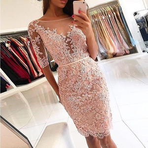 Pink Short Prom Dresses Sheer Neck Half Sleeves Knee Length Lace Party Dresses Sheath Short Evening Gowns Open Back Homecoming Dresses on Sale