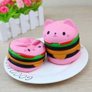 Wholesale 10PCS New Arrival Cute Kawaii Soft Squishy Colorful Scented Hamburger Cat Toy Slow Rising for Relieves Stress Anxiety Home Decoration