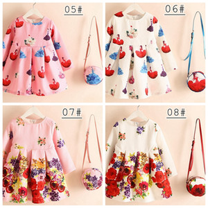 Wholesale 16styles Girls Long Sleeve Dress with Bag Princess Summer Autumn European Fashion Full Floral Printed Dress Pretty cartoon dress