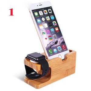 Wholesale Bamboo Wood Charging Stand Bracket Docking Station Stock Cradle Holder for All Apple Watches iPhone S Smart Phones OTH305
