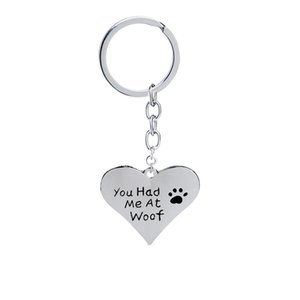 Wholesale you had me at woof pet lover cant dag paw Print Heart pendant keychains heart shaped Jewelry key rings for women