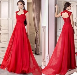 Wholesale 2019 Formal Red Evening Gowns Corset Chiffon Full Length Lace Up A line Prom Dresses Cap Sleeves Occasion Party Gowns Free Ship Custom Made
