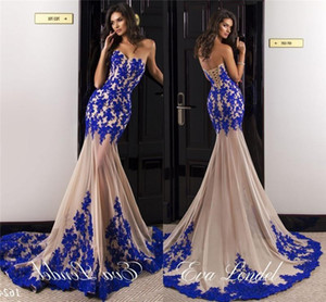 Wholesale 2016 New Sexy Evening Dresses Mermaid Royal Blue Lace Appliques Nude Tulle Sheer Skirt Long Court Train Arabic Formal Prom Dress Party Gowns