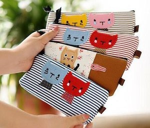 lona escovada venda por atacado-Gato Mini Pen Case Canvas Cosmetic Bag Maquiagem Escova Organizador