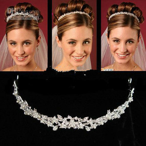 Wholesale New Cheapest Crowns Hair Accessory Rhinestone Jewels Pretty Crown Without Comb Tiara Hairband Bling Bling Wedding Accessories JA494