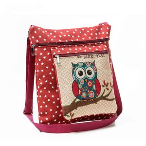 Wholesale Women Creative Model Hot Style Canvas Messenger Bag Female Owl Printing Shoulder Bags Cartoon Jacquard Embroidery Bags